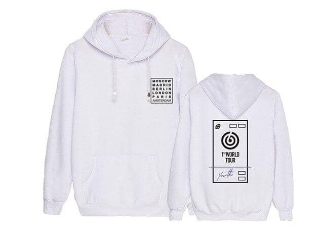 Kpop Newest Kpop day6 youth in europe concert same all countries printing pullover hoodie black white 2 style unisex fleece loose sweatshirt that you'll fall in love with. At an affordable price at KPOPSHOP, We sell a variety of Kpop day6 youth in europe concert same all countries printing pullover hoodie black white 2 style unisex fleece loose sweatshirt with Free Shipping.