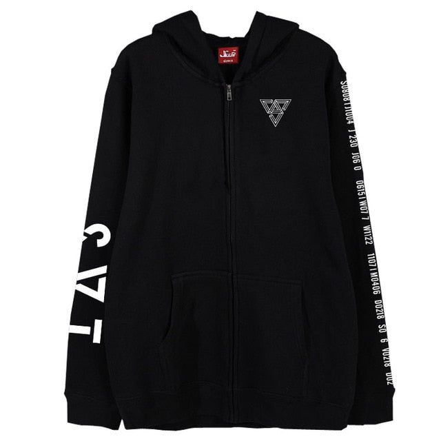 Kpop seventeen 2018 japan arena svt concert same printing zipper hoodie jacket fleece/thin unisex  outwear