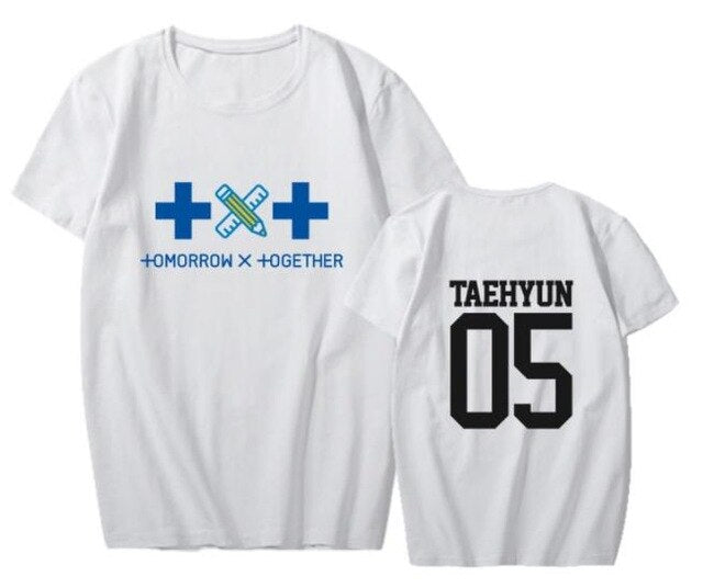 Kpop txt new member name printing t shirt unisex summer style k-pop TOMORROW X TOGETHER o neck short sleeve t-shirt