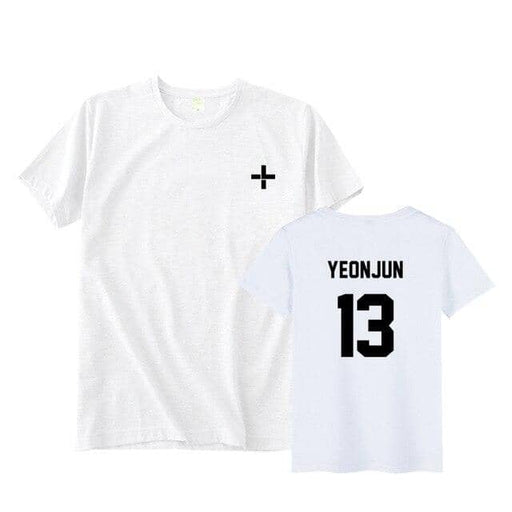 Kpop txt tomorrow together member name unisex kpop black/white t-shirt - Kpopshop