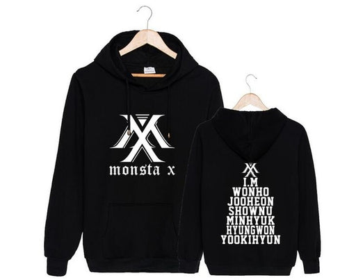 Kpop unisex monsta x logo and all member names pullover Sweatshirt for monbebe supportive fleece loose hoodies - Kpopshop