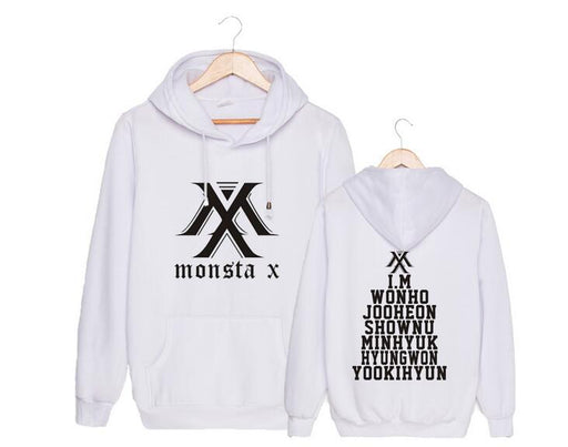 Kpop unisex monsta x logo and all member names printing pullover sweatshirt for monbebe supportive fleece loose hoodies