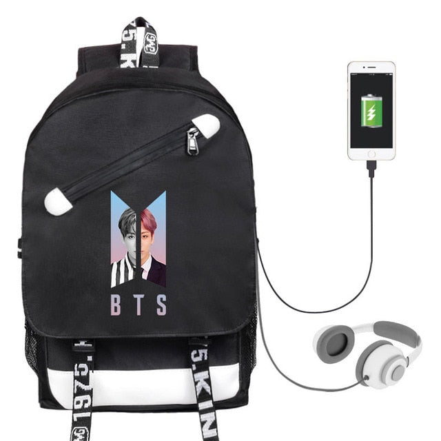 BTS Men's And Women's Student Backpack Celebrity Inspired Related Canvas School Bag USB Shackles Bag