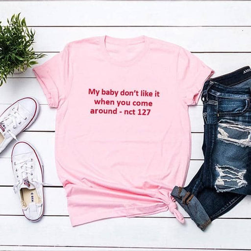 Kpop Newest My Baby Don't Like It When You Come Around Nct 127 T Shirt Women Summer Cotton Short Sleeve O Neck Tee Shirt Femme that you'll fall in love with. At an affordable price at KPOPSHOP, We sell a variety of My Baby Don't Like It When You Come Around Nct 127 T Shirt Women Summer Cotton Short Sleeve O Neck Tee Shirt Femme with Free Shipping.