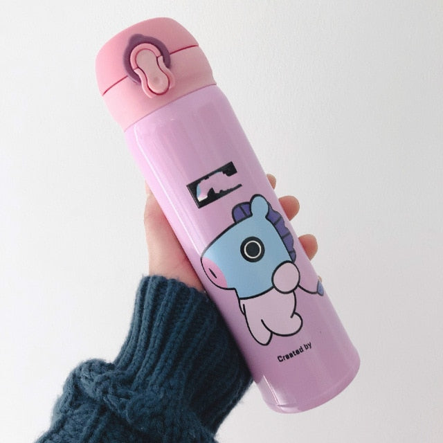 New Bulletproof Boy Korea Thermos Bottle BTS  Chimmy Cookie Shooky Dog Rabbit Cute Water Bottle
