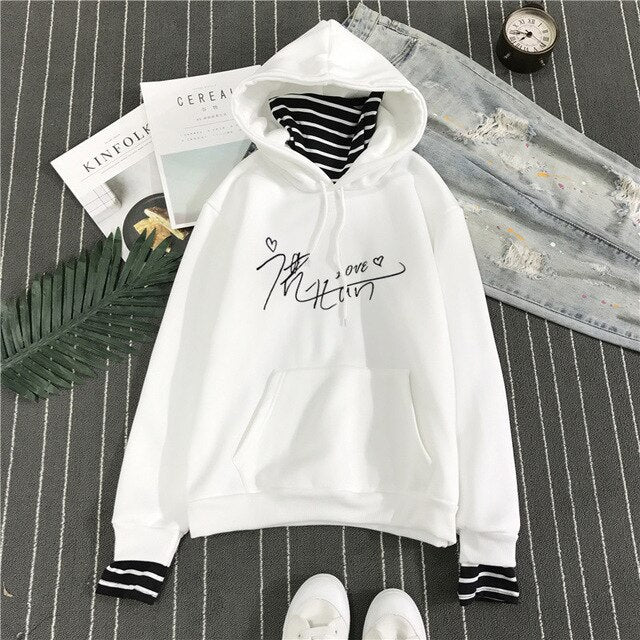 New Fashion EXO Korean Style Sweatshirt for Women Exo Kpop Clothes Casual Hoodies Letter Printed  Fleece Pullover Hooded
