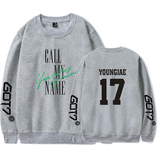 New Got7 YOUNGJAE Kpop Hoodie Pullover Men Women Capless Sweatshirts Casual O-neck Long Sleeve Unisex Hoodies Tops Plus Size 4XL