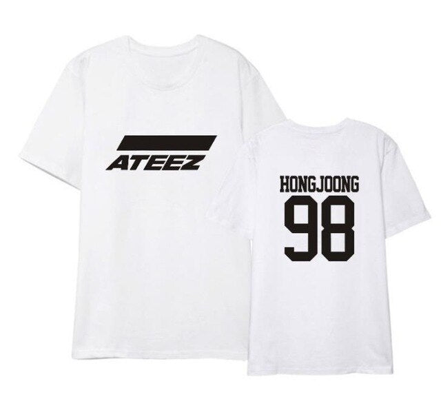 ateez member name kpop unisex loose t-shirt for top tees - Kpopshop