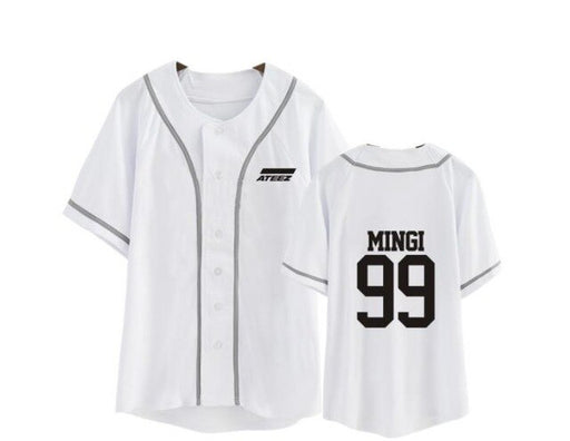 kpop ateez member name baseball for k-pop unisex loose t-shirt - Kpopshop