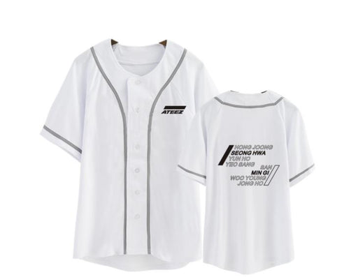 New arrival kpop ateez member name printing o neck short sleeve baseball t shirt for summer k-pop unisex loose t-shirt