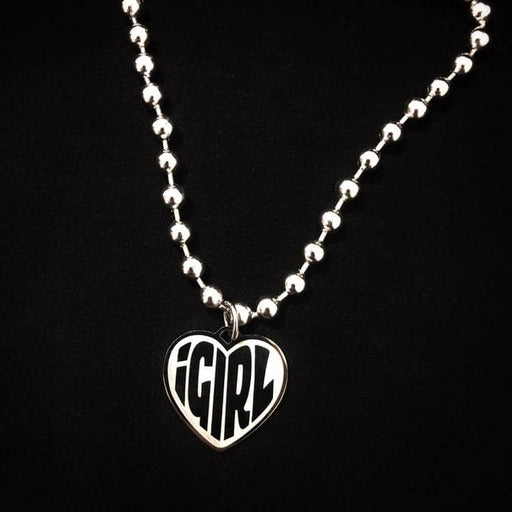 Stainless Steel IGIRL Unif Heart Necklace Heavy Duty Gothic Streetwear Chain Necklace Choker Metal Collar High Polished