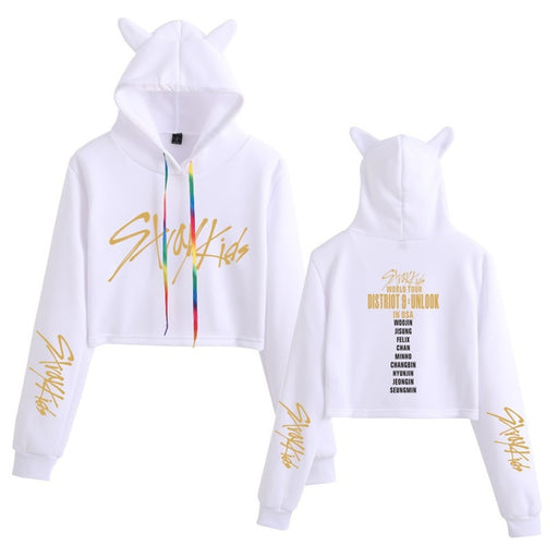Stray Kids Kpop Korean Hoodies Women Sweatshirts Casual Stray Kids Letter Printed Hoodie Crop Top Winter Cat Ear Hooded Pullover