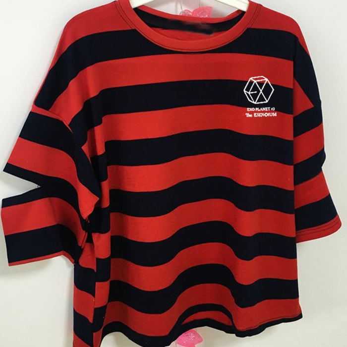 Kpop Newest Summer style girls women exo stripes half sleeve o neck t-shirt for kpop fans exo planet printing loose t shirt one size that you'll fall in love with. At an affordable price at KPOPSHOP, We sell a variety of Summer style girls women exo stripes half sleeve o neck t-shirt for kpop fans exo planet printing loose t shirt one size with Free Shipping.