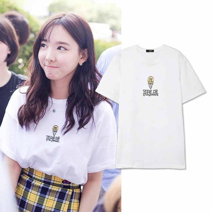 "Kpop Newest Twice The Same Summer Short-sleeved T-shirt Fashion Printed Letter ""TAKE ME"" T-shirt Men and Women Summer Loose Casual Shirt that you'll fall in love with. At an affordable price at KPOPSHOP, We sell a variety of Twice The Same Summer Short-sleeved T-shirt Fashion Printed Letter ""TAKE ME"" T-shirt Men and Women Summer Loose Casual Shirt with Free Shipping."