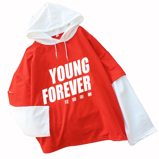 Kpop Newest Women's Fashion Sweatshirts Long Sleeve Letter YOUNG FOREVER Hoodies Casual Splicing Bangtan Boys Kpop Hooded Pullovers Tops that you'll fall in love with. At an affordable price at KPOPSHOP, We sell a variety of Women's Fashion Sweatshirts Long Sleeve Letter YOUNG FOREVER Hoodies Casual Splicing Bangtan Boys Kpop Hooded Pullovers Tops with Free Shipping.
