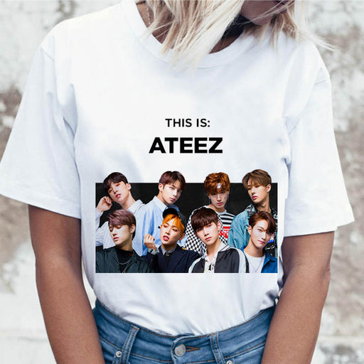 ateez t shirt women top graphic female tees for tshirt funny t-shirt korean harajuku ulzzang clothing