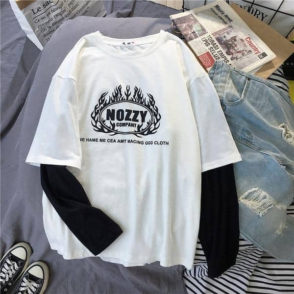 Kpopshop Originals - T-shirt Women Hip-hop Tees Korean Style letter T-shirts Girls black white tops - Kpopshop