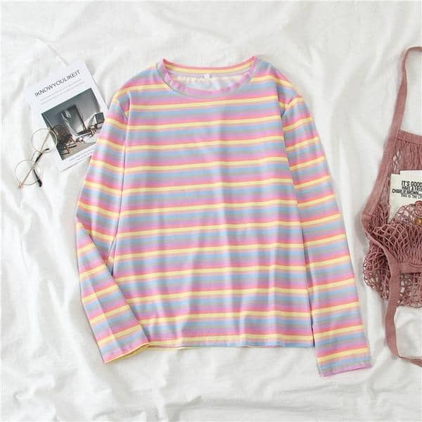Kpopshop Originals - T-shirts Rainbow Striped Soft Loose Embroidery T-shirt  (4) - Kpopshop