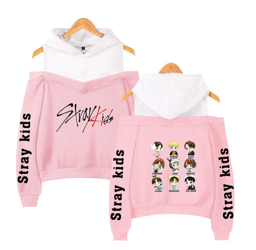 Stray Kids KPOP Off-shoulder Sweatshirt Women Fashion Hip Pop Printed Sweatshirt XS-2XL - Kpopshop