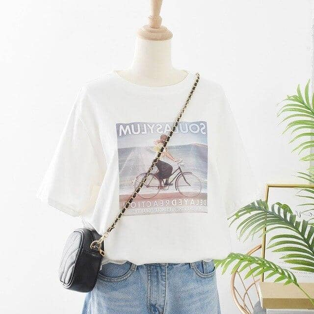 Kpopshop Originals - T-shirts Rainbow Striped Soft Loose Embroidery T-shirt - Kpopshop