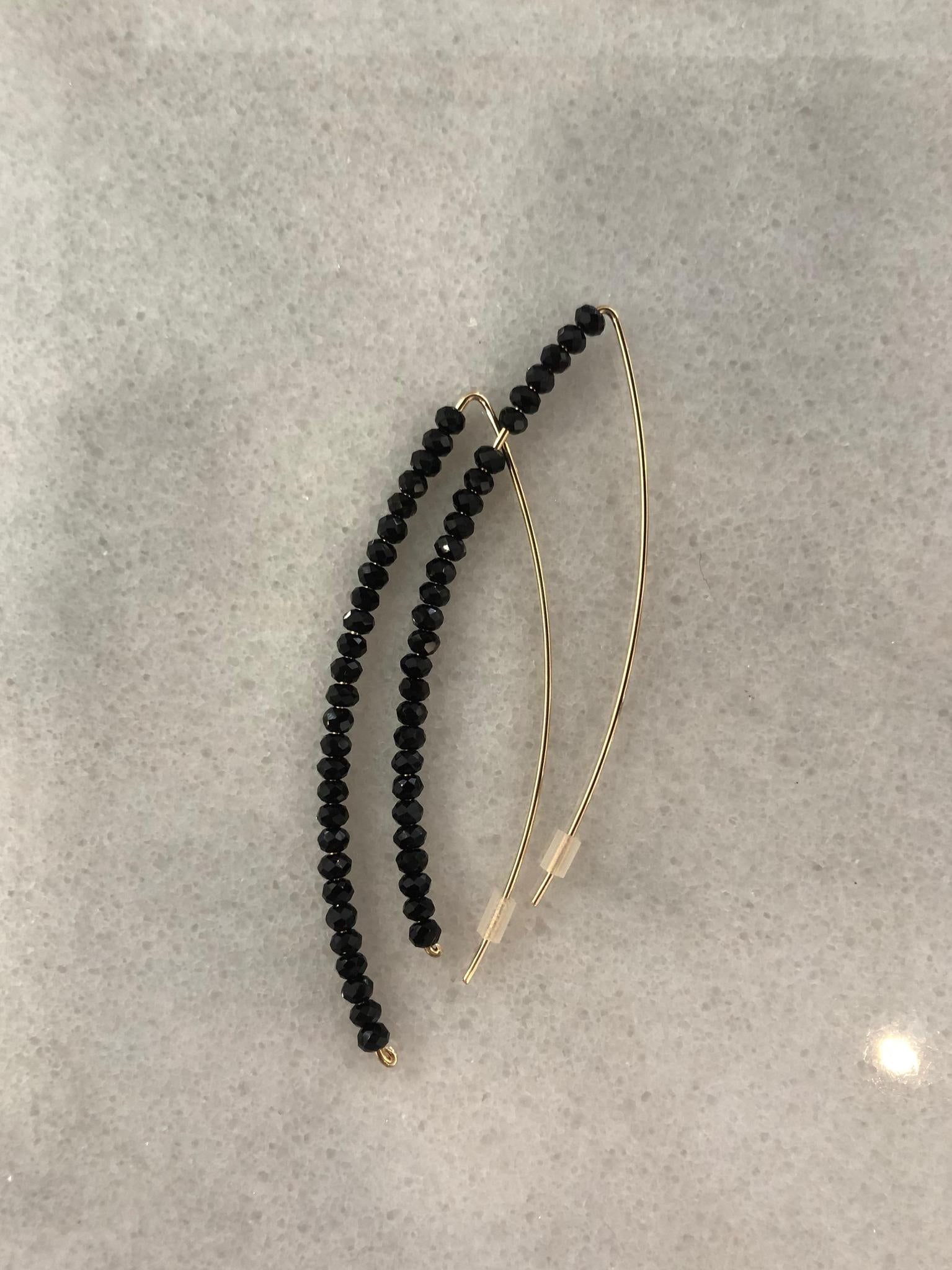 Crystal Stick Earrings Black