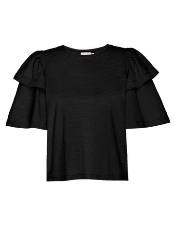 Nation Regina Exaggerated Sleeve Tee - Jet Black