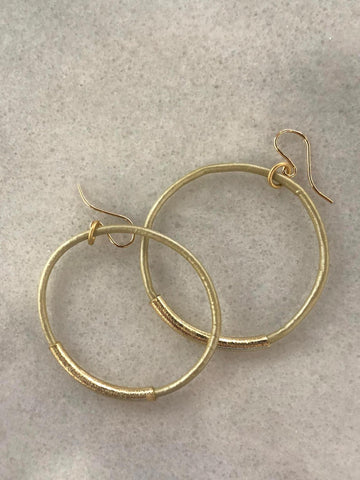 Leather Hoop Earrings Cream