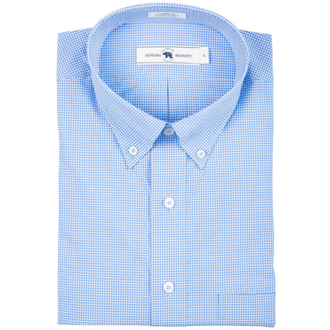 Onward Reserve Classic Fit Cotton Stretch Button Down Micro Check Blue