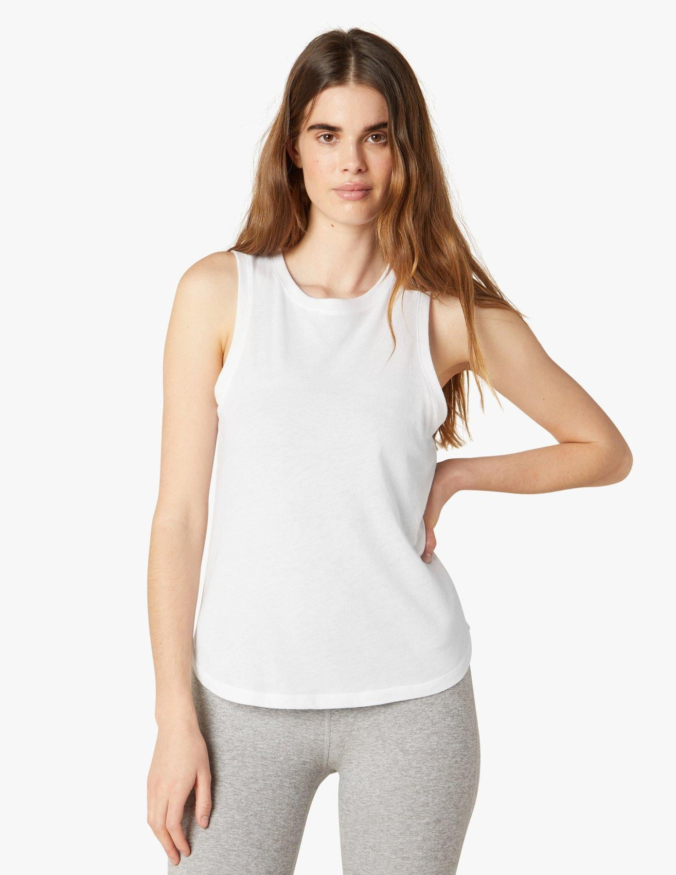 Beyond Yoga Boyfriend Jersey Muscle Tank - White
