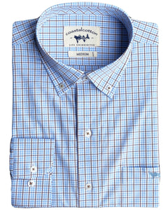 Coastal Cotton Long Sleeve Woven Shirt - Cobalt Blue Plaid