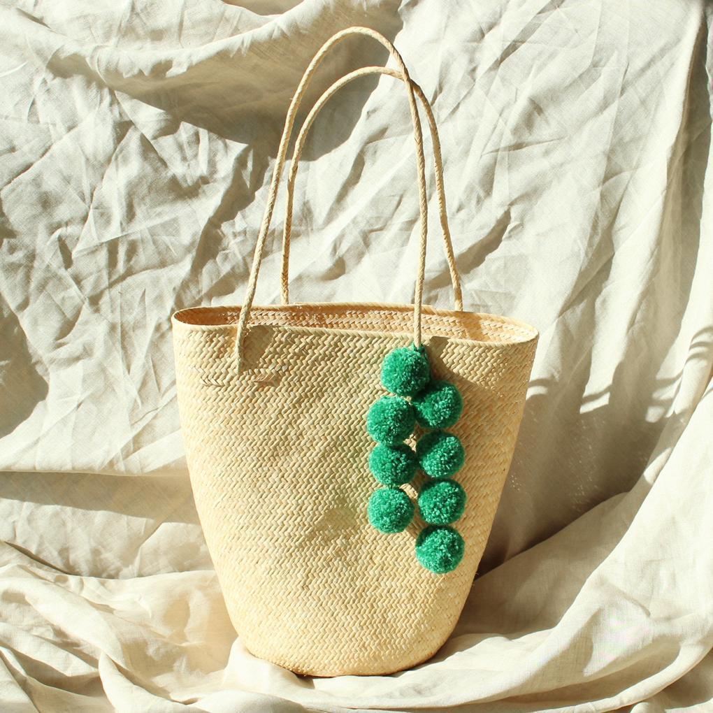Brunna Co Borneo Serena Anjat Straw Bag with Green Poms