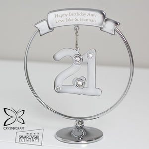 Personalised Crystocraft Silver Plated 21st Birthday Keepsake