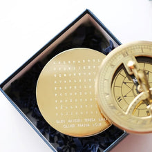 Load image into Gallery viewer, Personalised Word Search Brass Sundial Compass