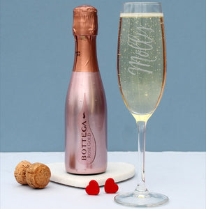 200ml Rose Gold Bottega Prosecco & Personalised Flute Gift Set