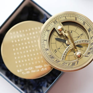 Personalised Word Search Brass Sundial Compass