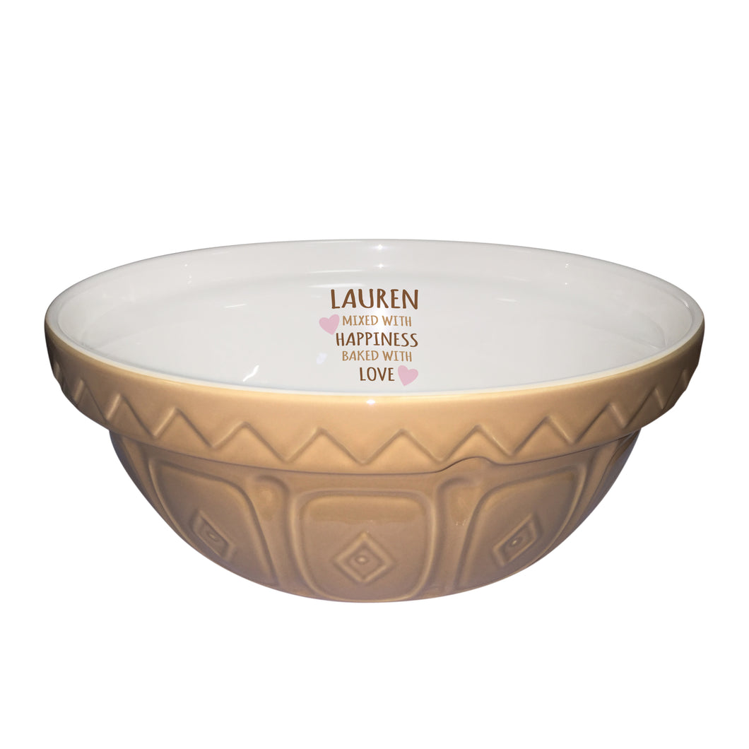 Personalised Mixed With Happiness Traditional Mixing Bowl