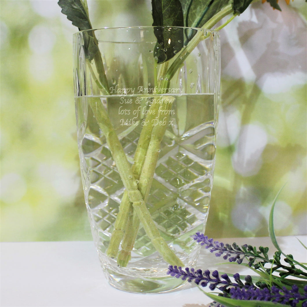 Personalised Cut Crystal Vase