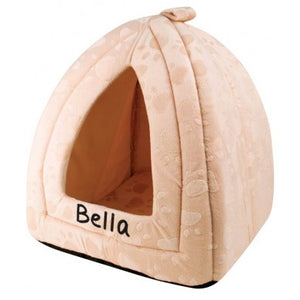 Personalised Cream Fleece Igloo Pet Bed