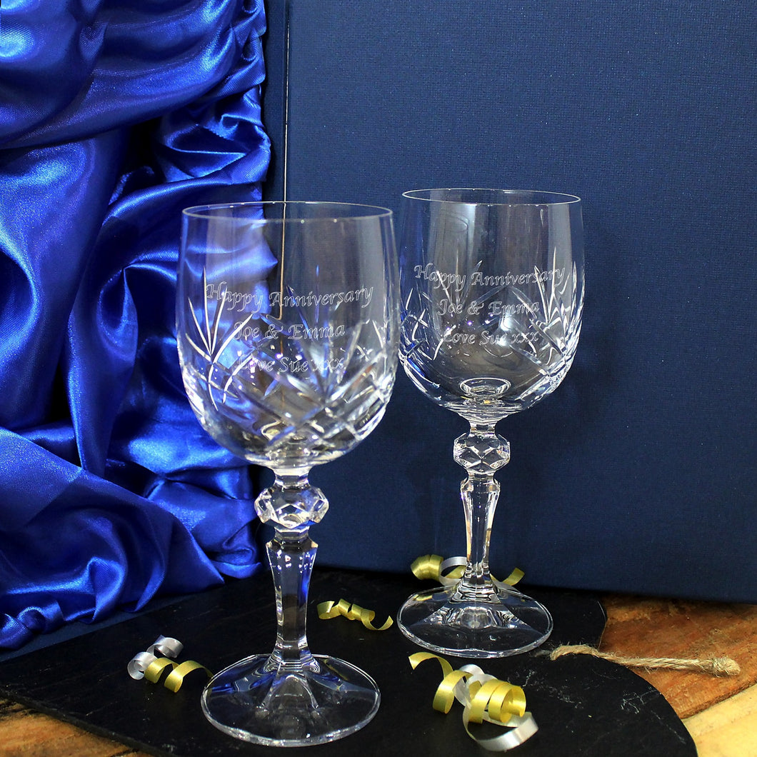 Personalised Crystal Wine Glass Set