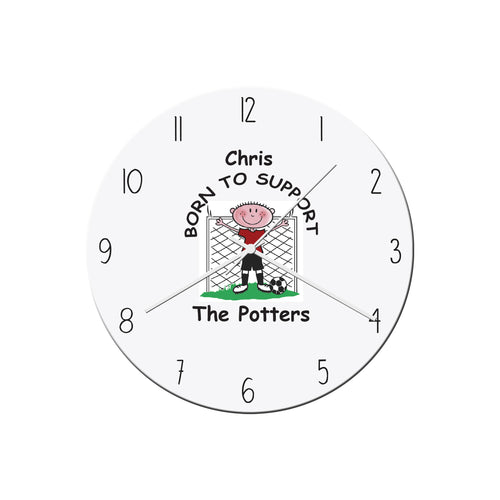 Personalised Born To Support (Any Team) Football Themed Glass Wall Clock