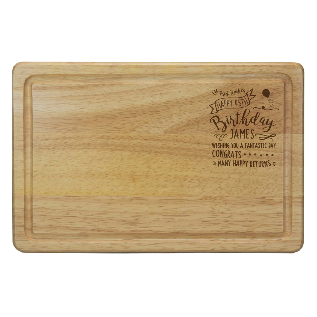 Personalised Birthday Celebration Rectangular Wooden Chopping Board