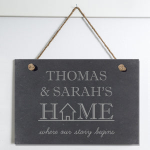 Where Our Story Begins Personalised Slate Hanging Sign