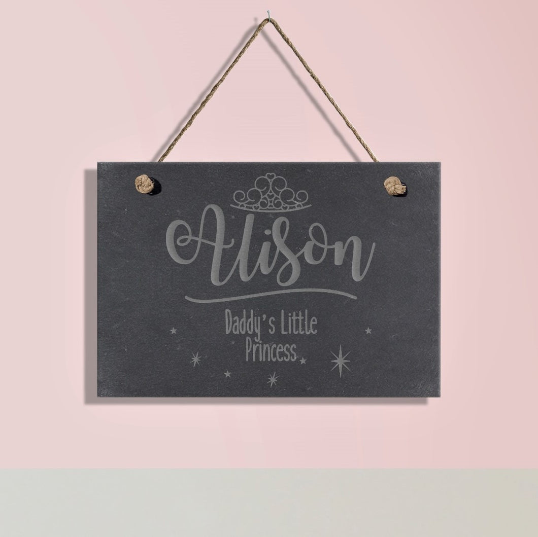 Daddy's Little Princess Personalised Hanging Slate Sign