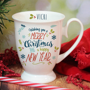 Personalised Wishing You A Merry Christmas Marquee Mug