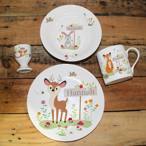 Personalised Woodland Animals Bone China Breakfast Set