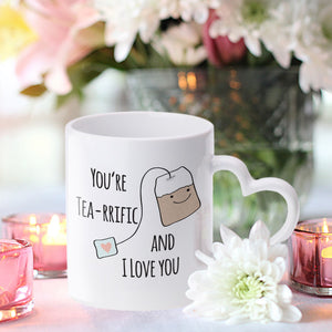 Personalised You're Tea-riffic Heart Handle Mug