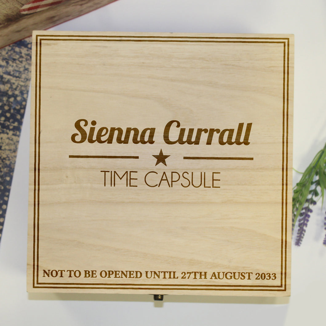 Personalised Time Capsule Wooden Box