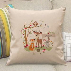 Personalised Woodland Animal Design Cushion