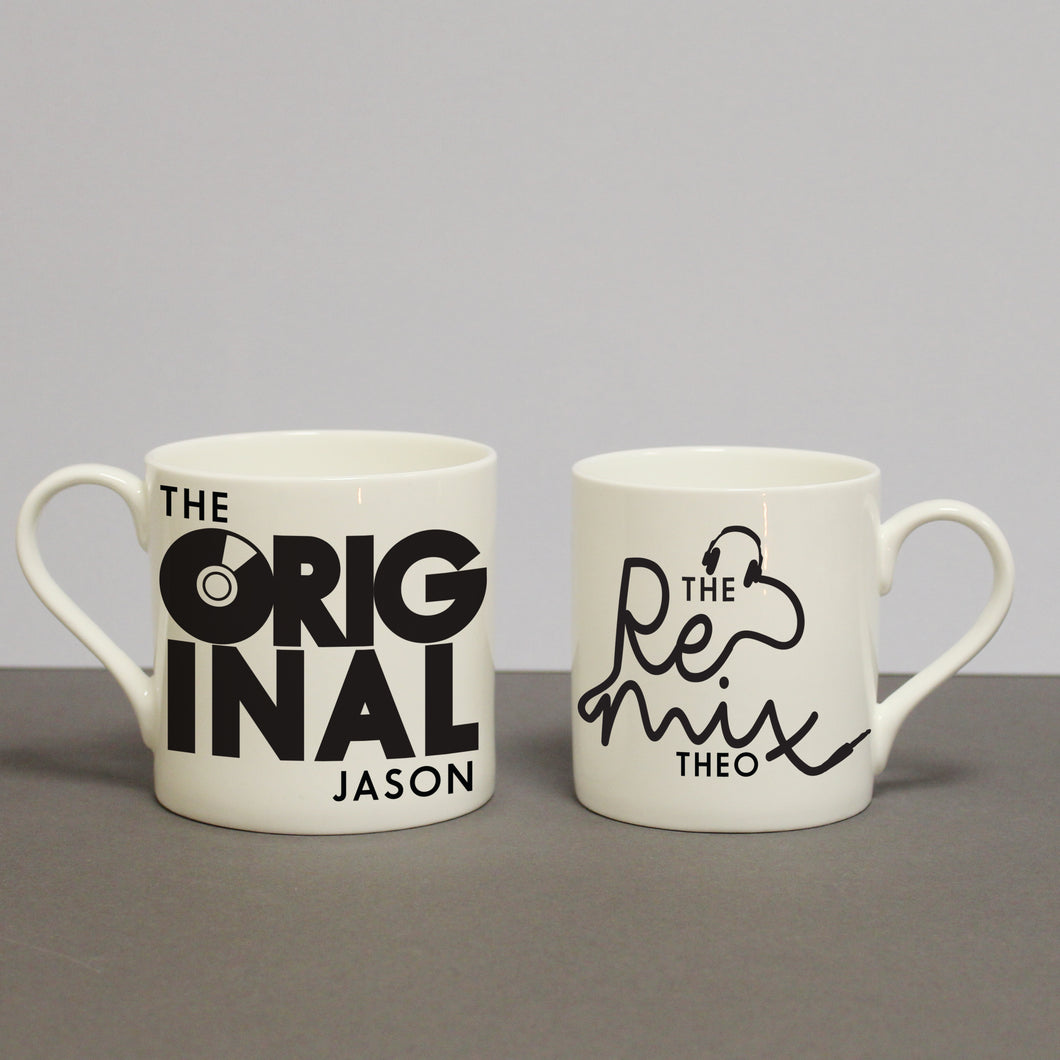 Personalised The Original & The Remix Bone China Mug Set