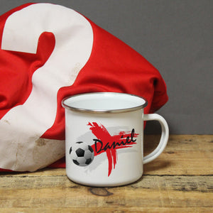 Personalised England Football Enamel Mug